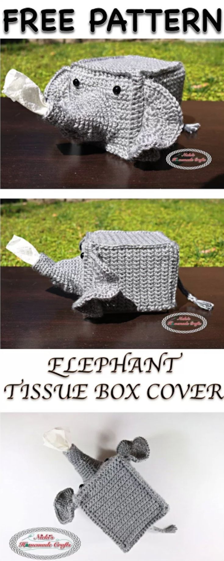 Free Crochet Pattern] Adorable Elephant Tissue Box Cover To Add A ...