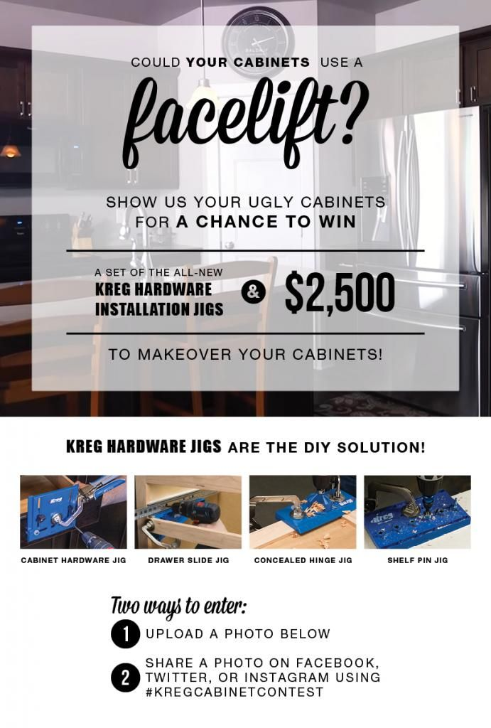 Show Kreg Jig your ugly cabinets for a chance to win a set of the all-new Kreg Hardware Installation Jigs and a $2,500 cash prize to makeover your cabinets!