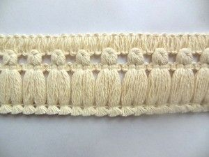 Natural Cotton Flat Tassel Fringe 2 Inch Sold By The Yard - DoveOriginalsTrims