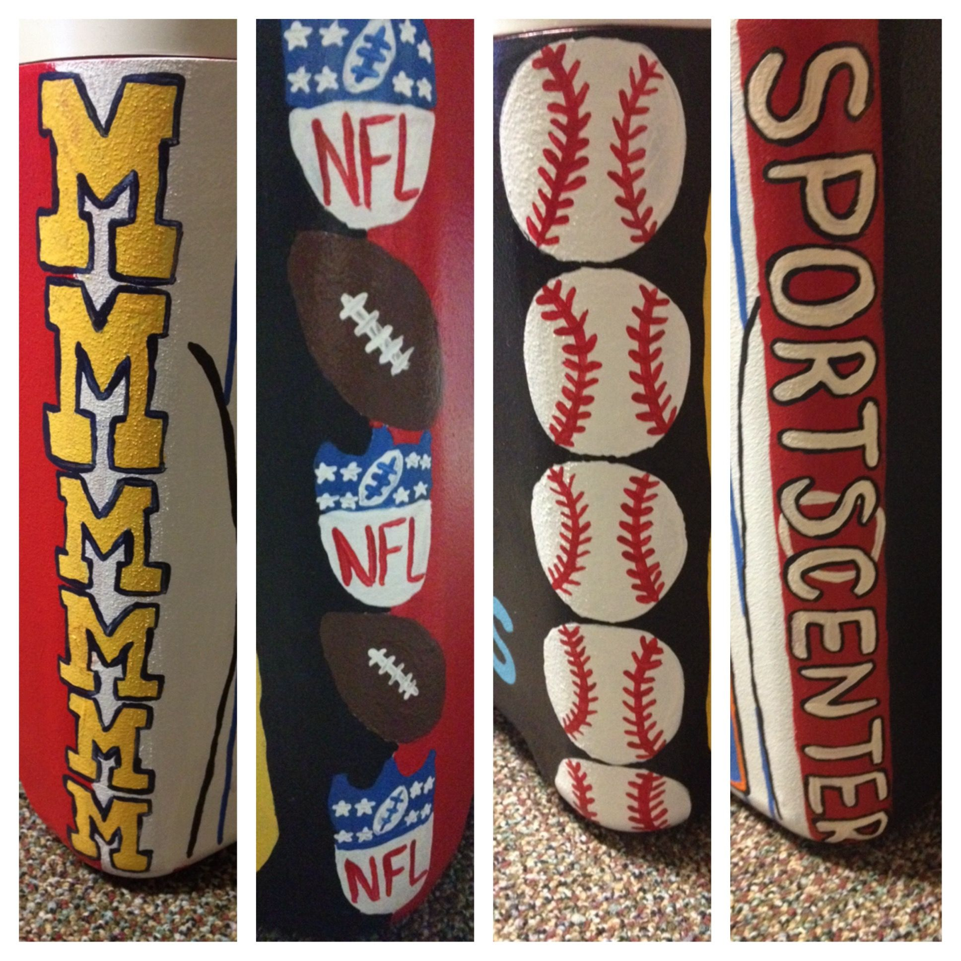Painted Cooler Edges Corners Nfl Symbol Baseball Sports Center Michigan Cooler Painting Fraternity Coolers Frat Coolers