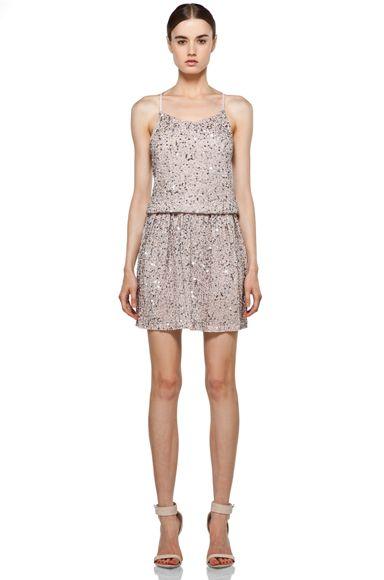 ec4c5f97a Alice + Olivia Bridget Sequin Blouson Dress in Dusty Pink