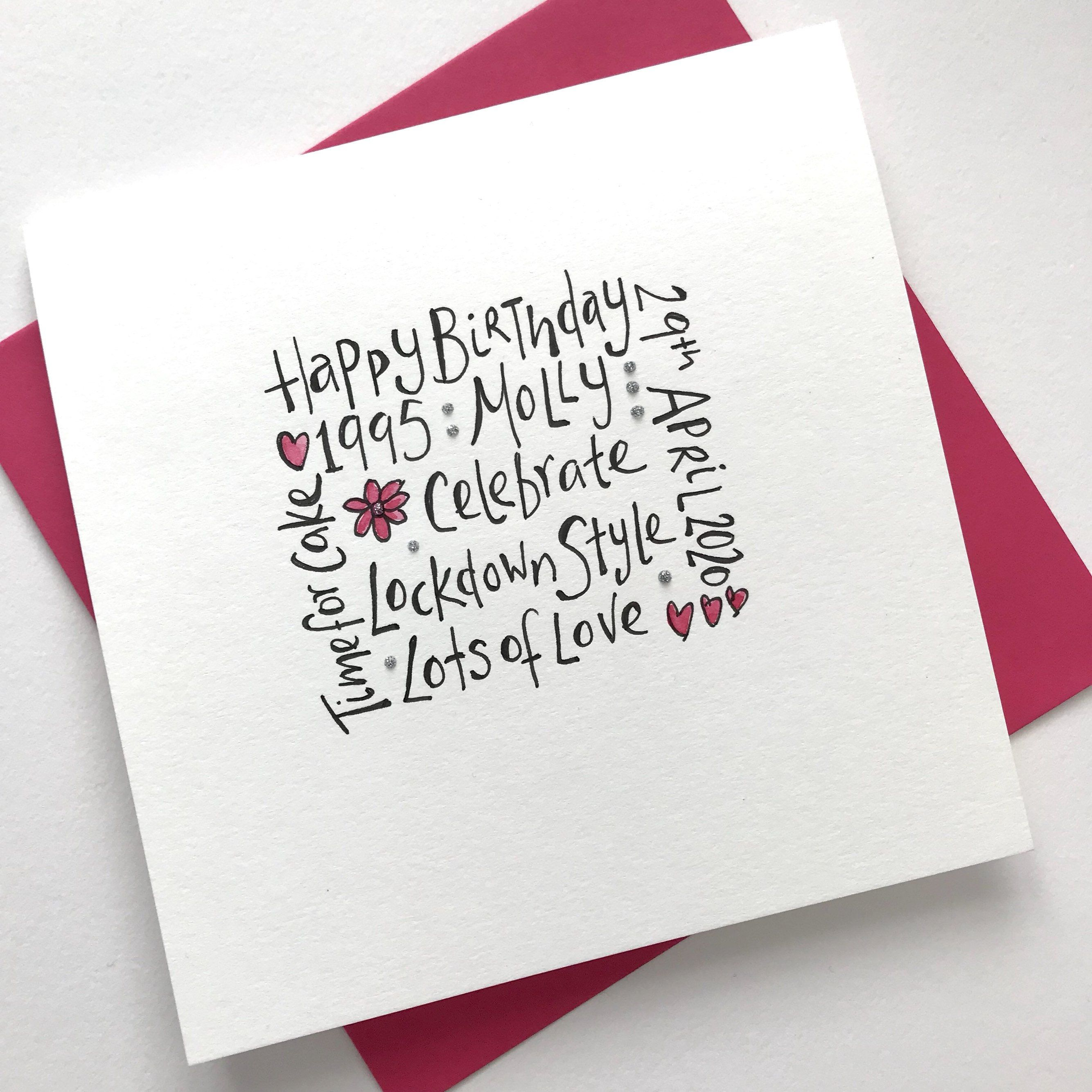 Lockdown Birthday Card Personalized Free Names Dates Location Added By Boxofsparkle On Etsy Personal Cards Cards Birthday Cards