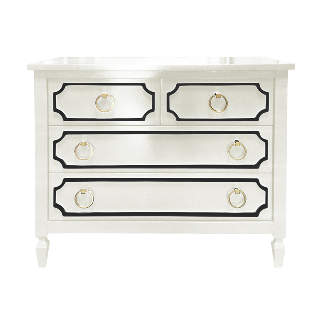 Beverly 4 Drawer Dresser in White and Black - we love how chic and elegant it is, plus the optional tray to make it a changing table is a must-have! #PNshop