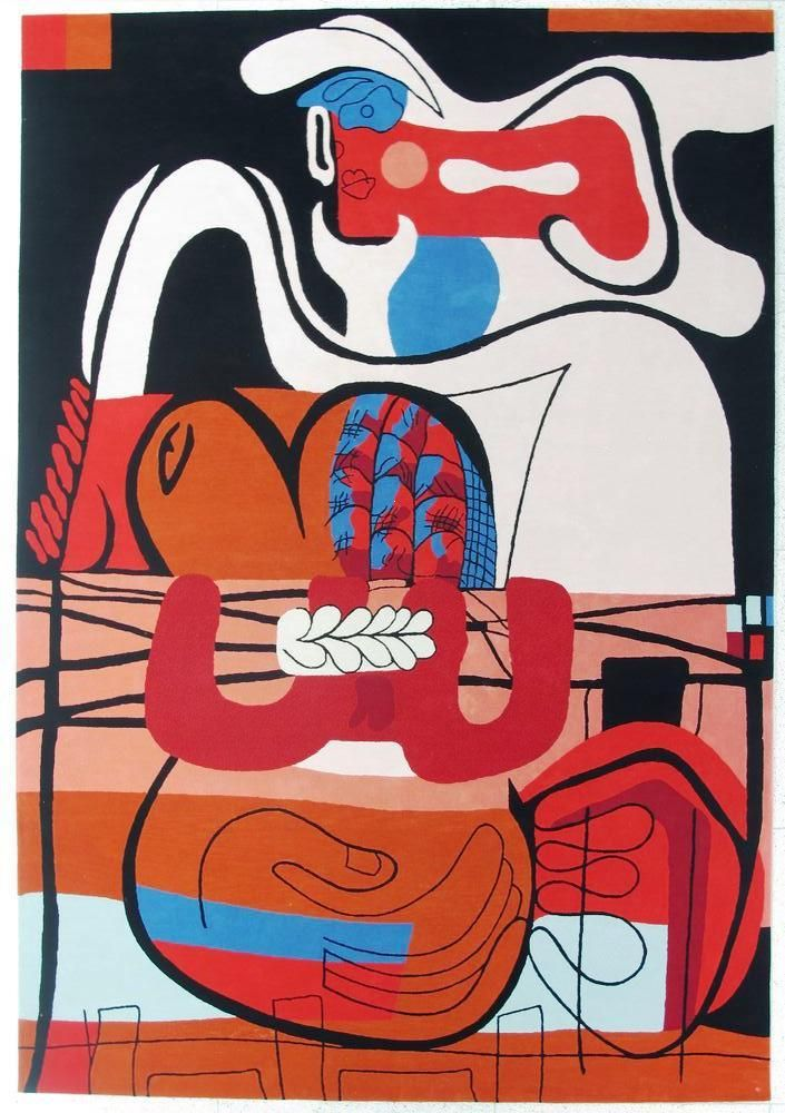 Woman with rope rug tapestry designed by le corbusier 9 ft x 13 ft 100% virgin wool.  [palazzett@aol]