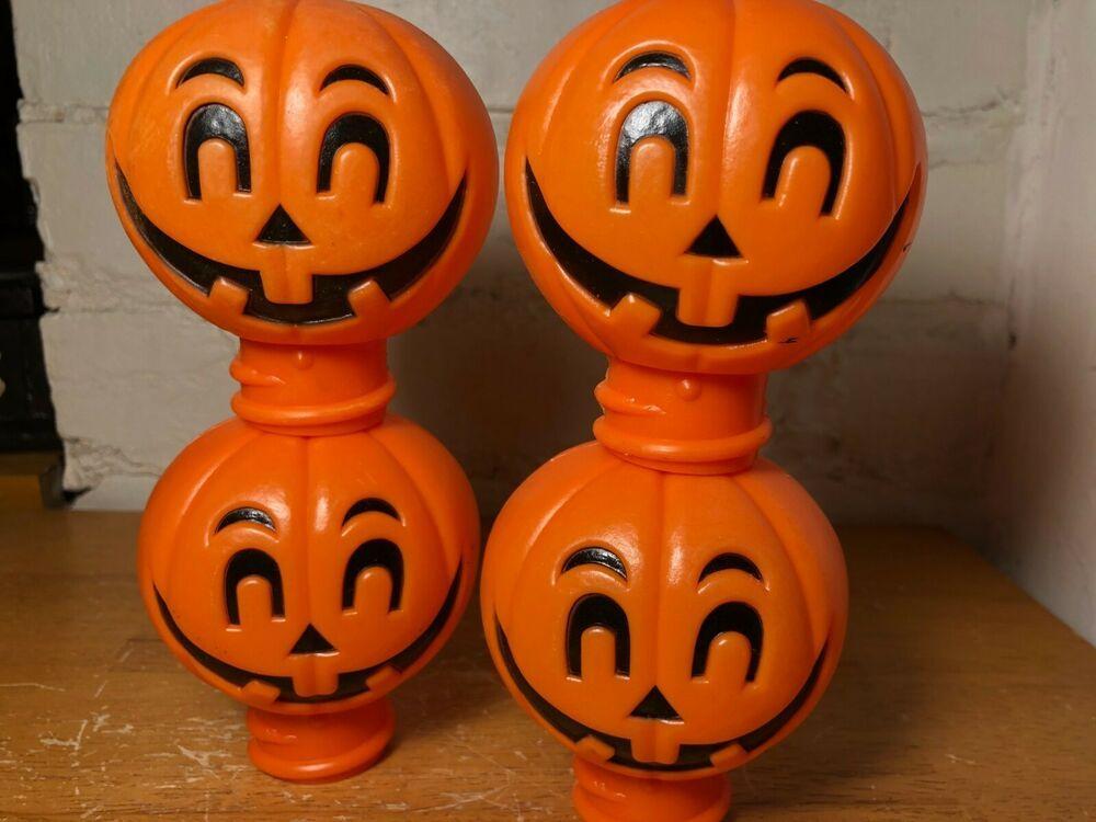 Halloween 2020 Flashlight Head Vintage Halloween Plastic Blow Mold JOL Flashlight Heads Lot of 4