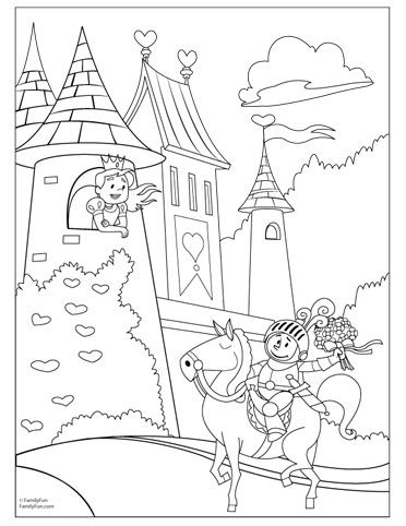 Coloring Pages for Kids Knights Princesses Party