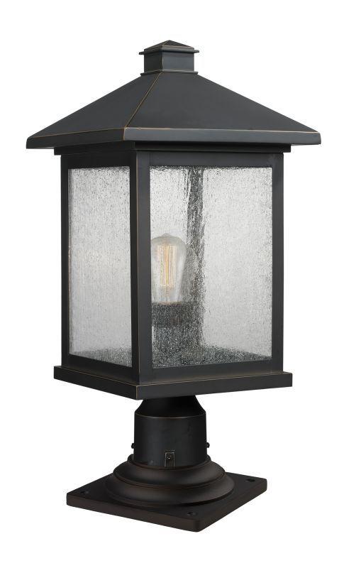 "Z-Lite 531PHBR-533PM Portland 20.25"" Tall 1 Light Outdoor Lantern Pier Mount Lig Oil Rubbed Bronze Outdoor Lighting Post Lights Pier Mount Lights"