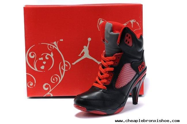 Air Jordan 5 V Womens Heels Ankle Boots Black Red Hot Sell Buy