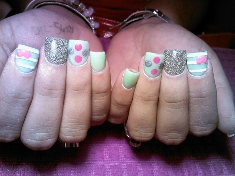 Nails, color mint, green, pink heart, white stripes, pink silver ...
