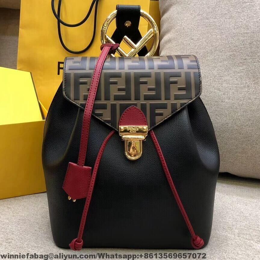 Fendi F Logo Leather and Grained Leather Calfskin Backpack 2018 ... a44644848e594