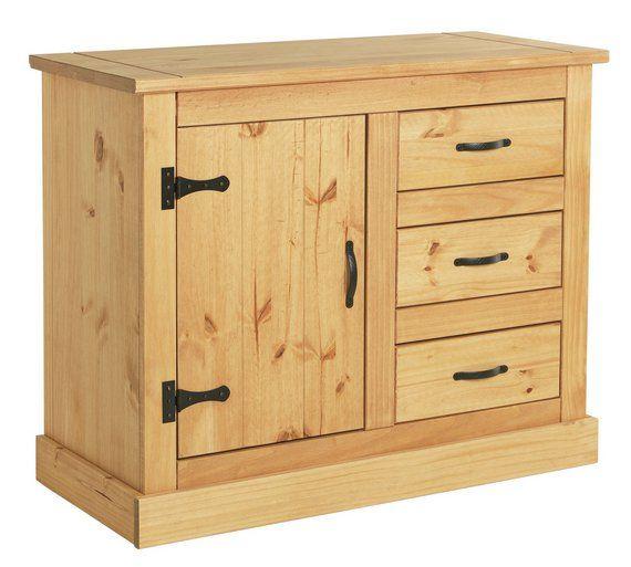 £100   Buy HOME San Diego 1 Door 3 Drawer Sideboard   Solid Pine At