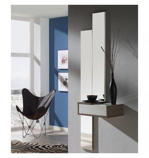 Meuble d\u0027entrée + miroirs et tiroir placage effet chêne foncé Churches