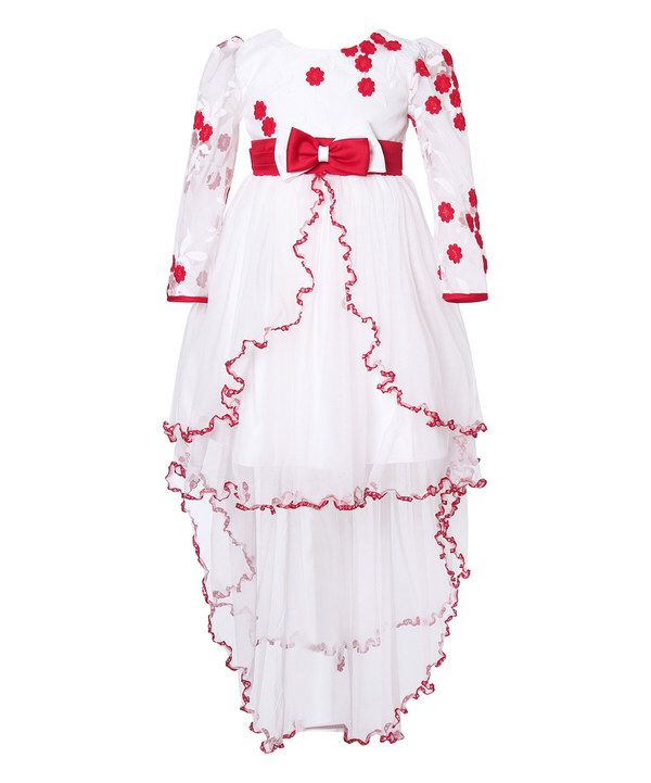 5a333abea Look at this Richie House White & Red Floral Hi-Low Overlay Dress - Girls  on #zulily today!