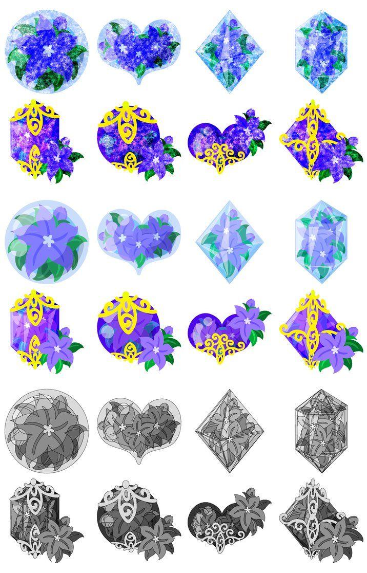 フリーのイラスト素材「紫の花の可愛いアイコン / Cute Icons of purple... アイコン