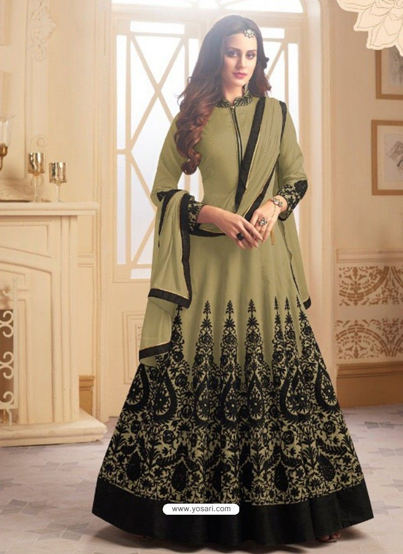 Olive green tapeta silk embroidered floor length suit in