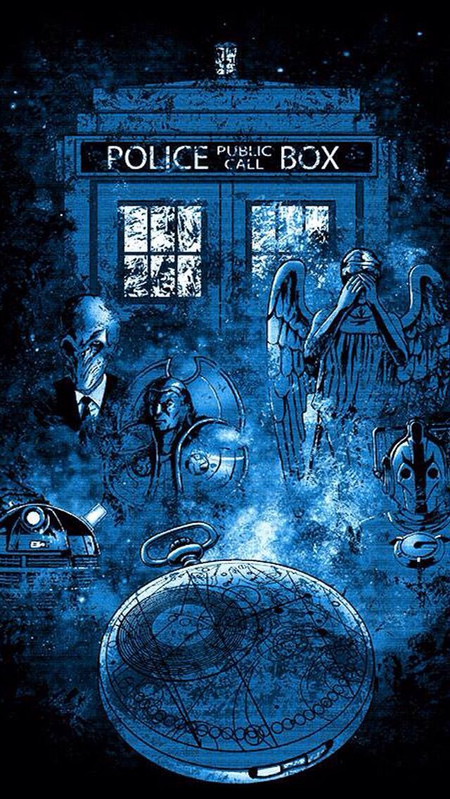Beautiful Fan Art The Silence Weeping Angels And Daleks The Tardis Even Looks Scary Like Its At Trenzalor Doctor Who Fan Art Doctor Who Wallpaper Doctor Who