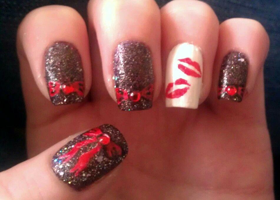 Bows and kisses nail art my nail art pinterest kiss nails bows and kisses nail art prinsesfo Images