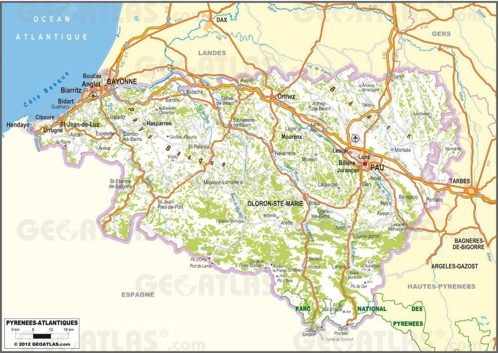 Carte Routiere Des Pyrenees Atlantiques Carte Pyrenees Pyrenees Carte Touristique