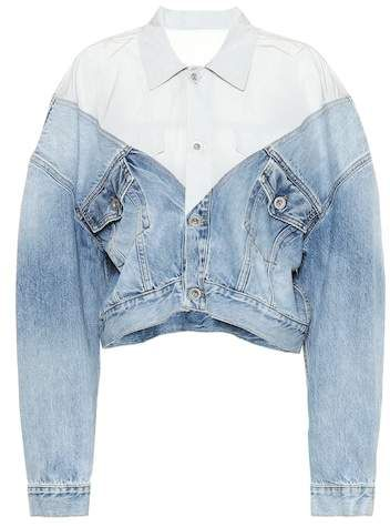 Cropped denim and nylon jacket