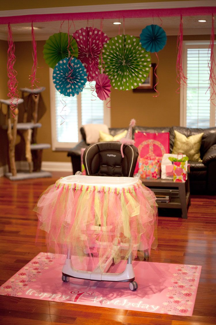 Olivia's 1st birthday high chair decorations! 1st