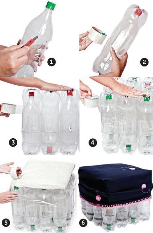 Douzeo un pouf avec des bouteilles en plastique fais le toi m me pinterest pouf - Deco bouteille plastique ...