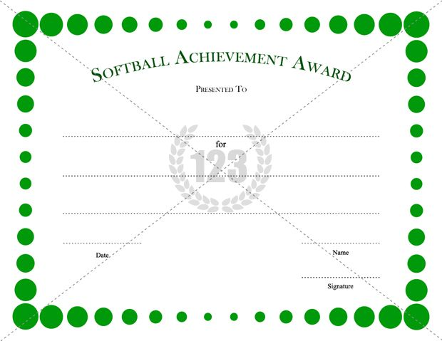 Girls Softball Certificates