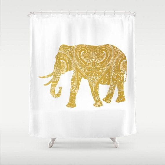 Elephant Shower Curtain Gold White Boho By Lovethattoomuch On Etsy Elephant Shower Curtains Shower Curtain Curtains