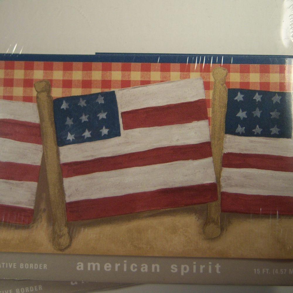 Wallpaper Border American Spirit American Flag Americana 3 Pack 15 Ft 45 Ft Restorerestyle American Spirit American Flag Flag