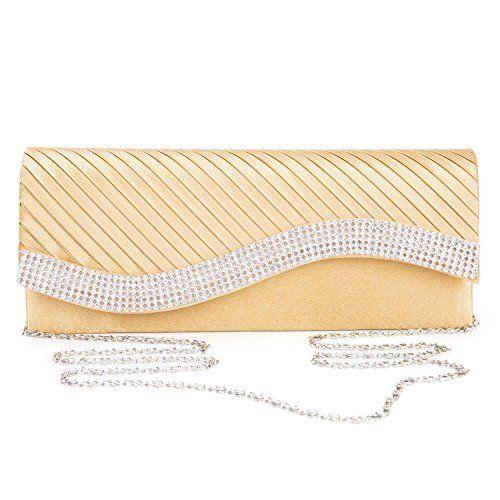 KISSCHIC Womens Handbag Crystal Rhinestone Evening Clutch Bags Party Wedding Pur