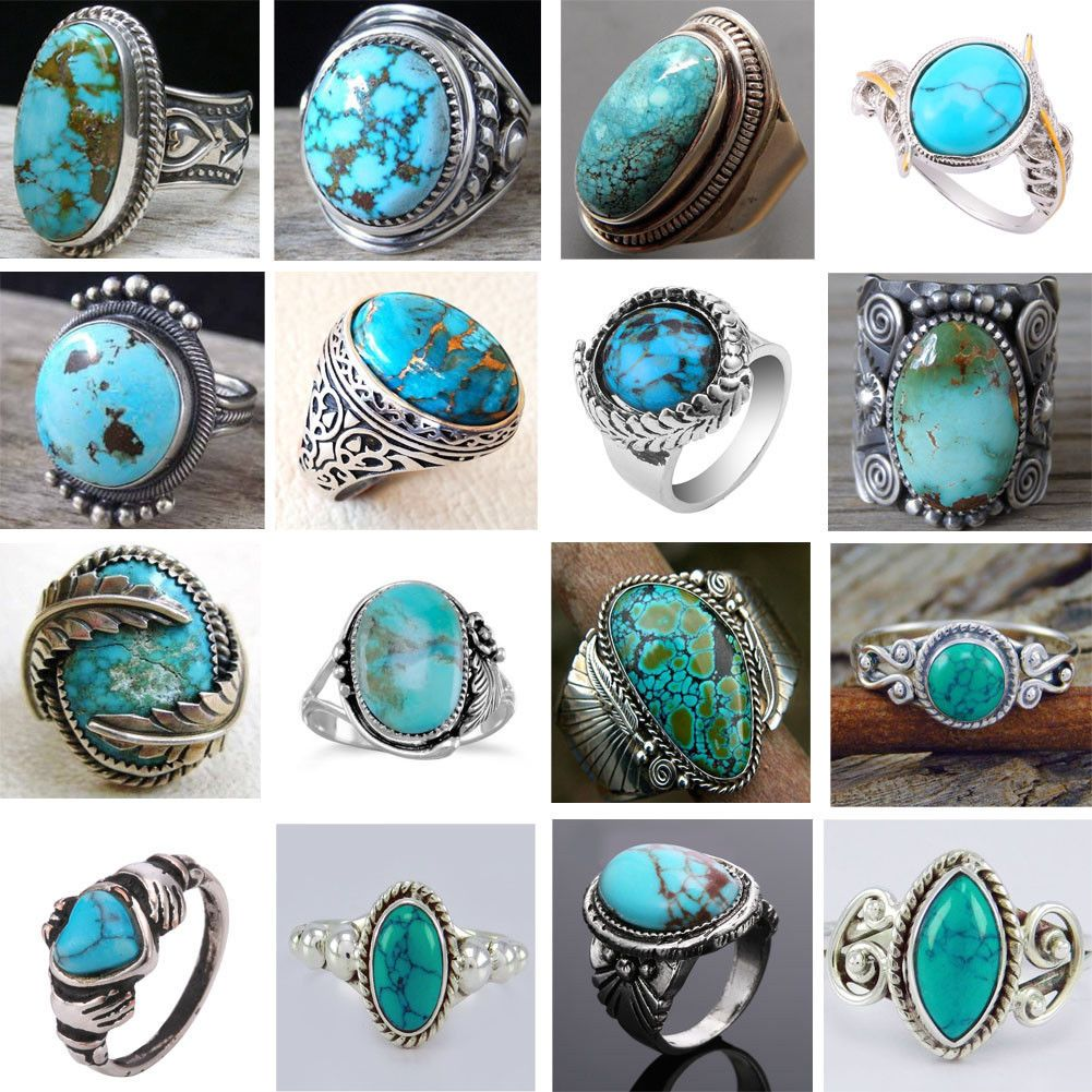 £0.99 GBP Fashion Turquoise 925 Sterling Silver Gemstone