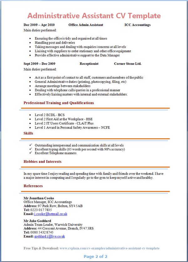 2 Page Cv Template South Africa Africa Cvtemplate South Template Administrative Assistant Resume Job Resume Examples Office Assistant Resume