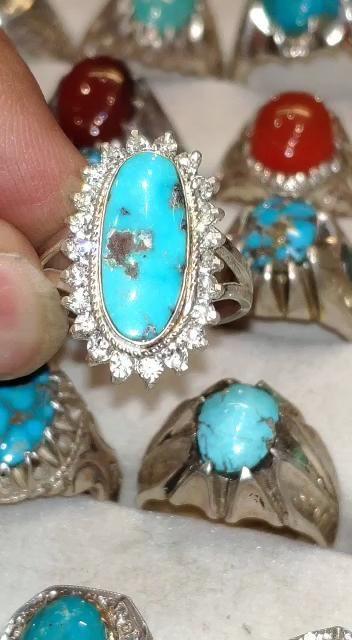 خاتم فاخر من حجر الفيروز المرصع مميز طبيعي 100 Turquoise Video In 2021 Jewelry Turquoise Ring Rings