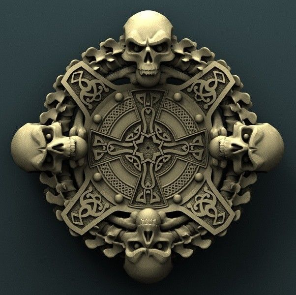 D stl model relief for cnc router aspire artcam skull
