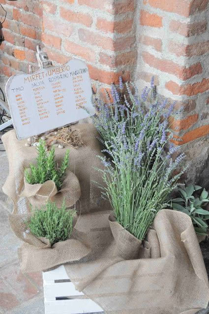 Rustic style with lavender and herbs