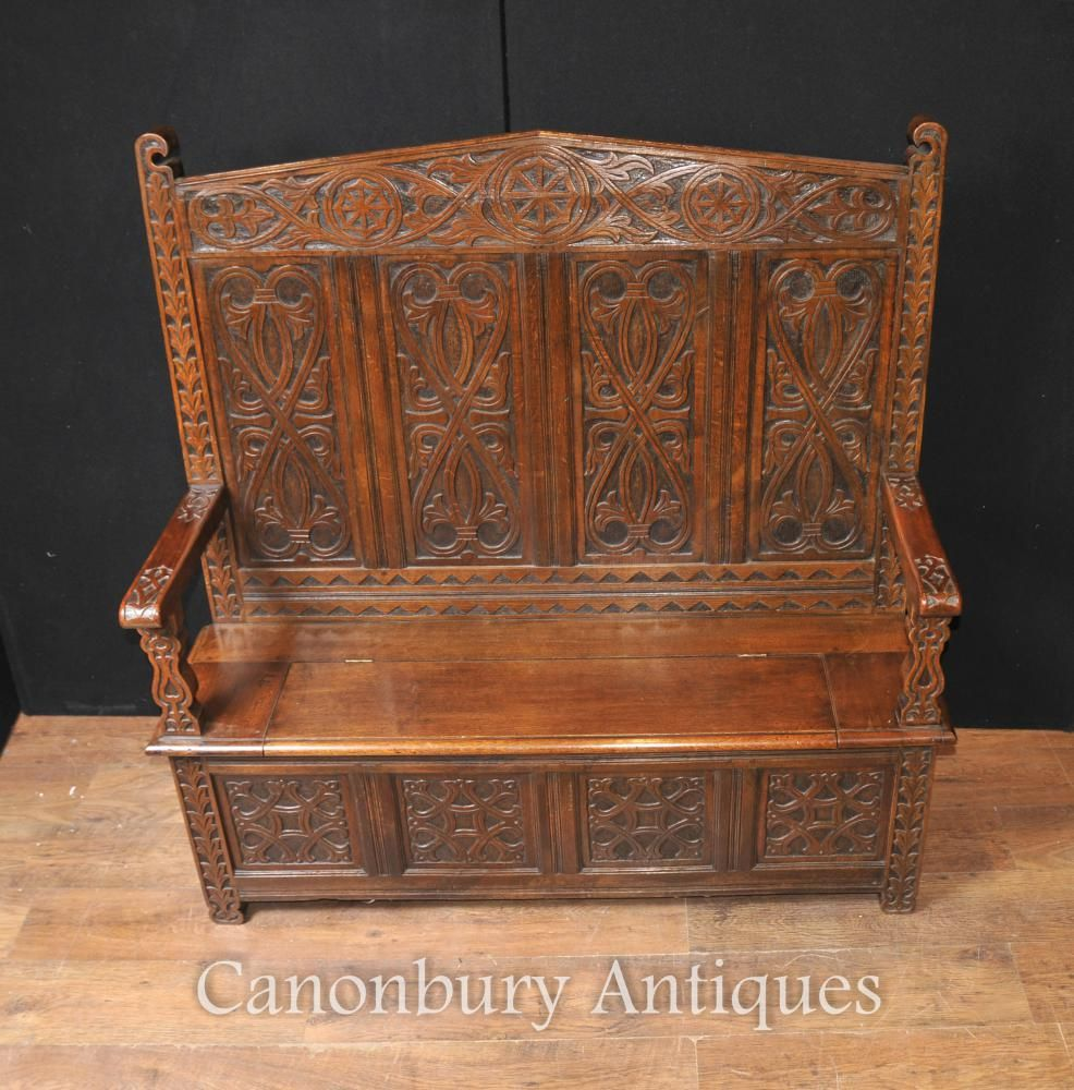 antique 19th century hand carved oak monks bench or