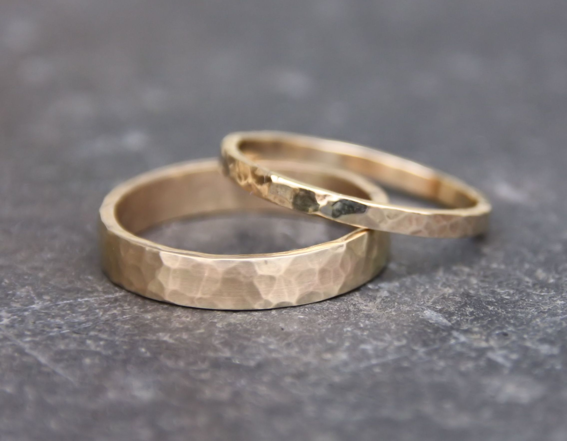 Hammered Gold Wedding Rings   Gold Ring Set   His And Hers   Eco Friendly  Recycled Gold   Matching Gold Wedding Rings