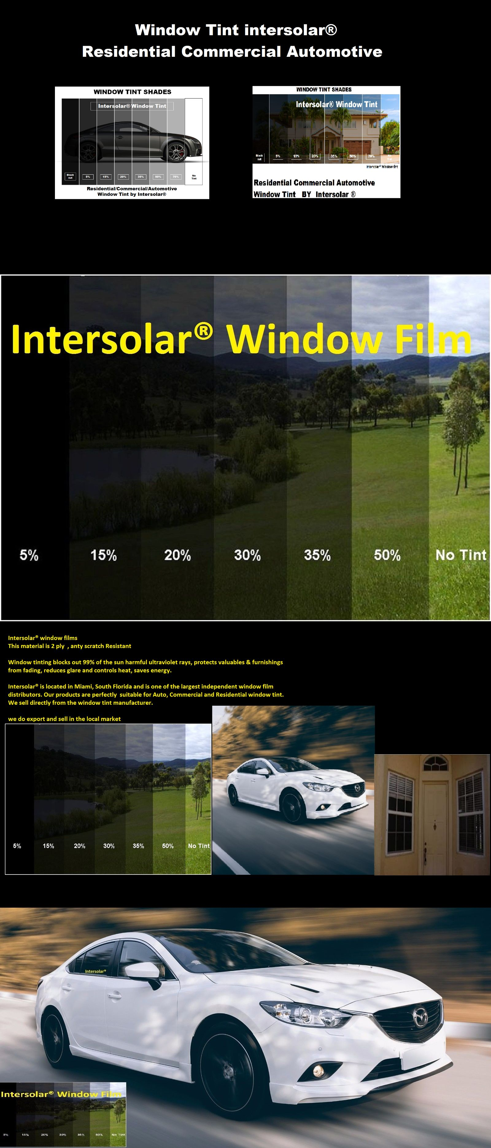 Window Tint 2 Ply 10 Years Warranty Choose Size And Shade 5 15 20 35 50 70 Window Film Tinted Windows Tints