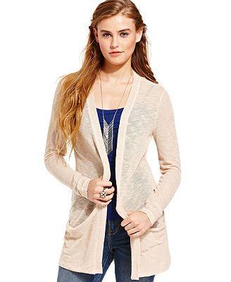 American Rag Juniors Sweater, Long Sleeve Slub-Knit Cardigan