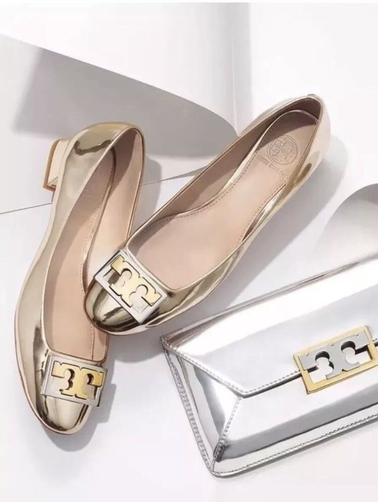 cd57bb83e28 New Tory Burch Gigi Pump Metallic Spark Gold Block Heel Neutral Size 11
