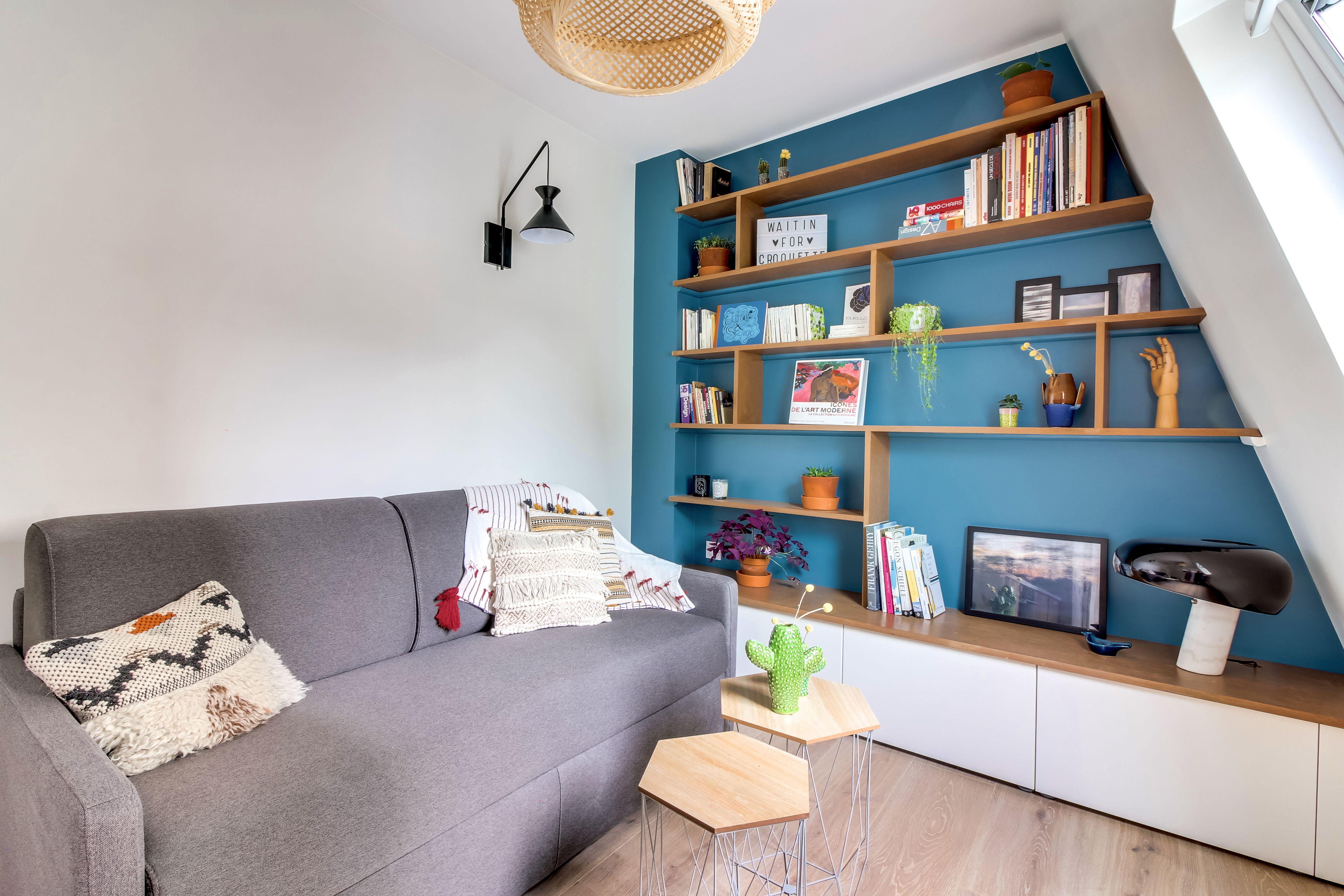 Salon Chambre R Novation Compl Te D Un Appartement De 19 M2  # Living Salon Bois Emplacement Tv