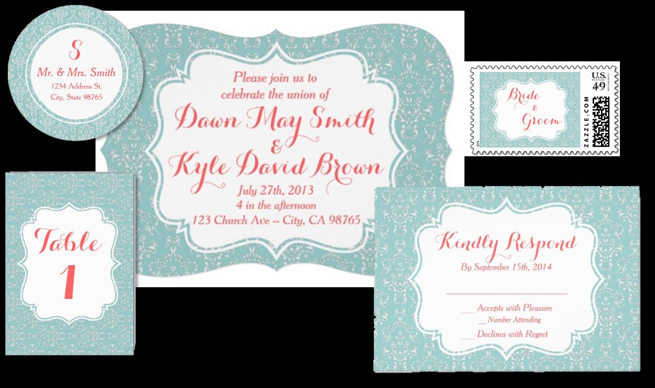Custom Mint and Coral Damask Wedding Invitation Set. RSVP, Postage ...