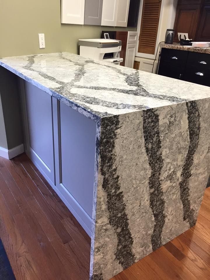Cambria Sea Grove Quartz Desk Top With Waterfall Edge In A Direct Cabinets Showroom Cambria Countertops Home House