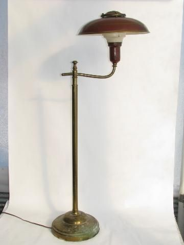 1940s Vintage Deep Red Tole Floor Lamp W Metal Helmet Light Shade Rembrandt Helmet Light Lamp Light Shades