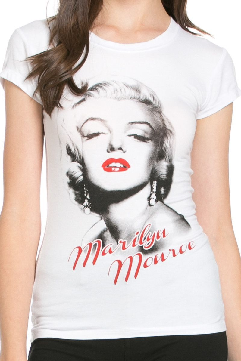 Red Lips Marilyn Monroe Graphic Tee White