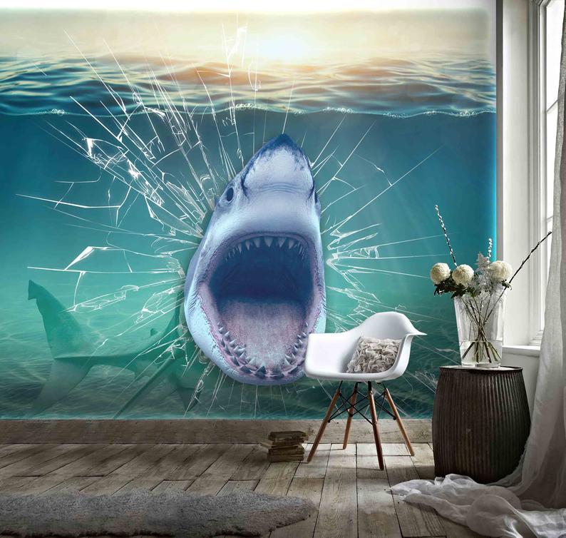 3d Blue Ocean Glass Aquarium Big Shark Wallpaper Mural Peel And Stick Wallpaper Removable Wall Prints Stickers Feature Wall Wallpaer B375 Mural Wallpaper Shark Mural Wallpaper