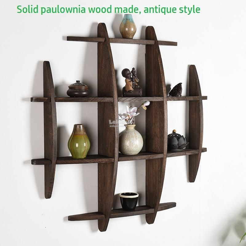 Solid Wood Antique Wall Shelves Shelf Display Wall Decoration