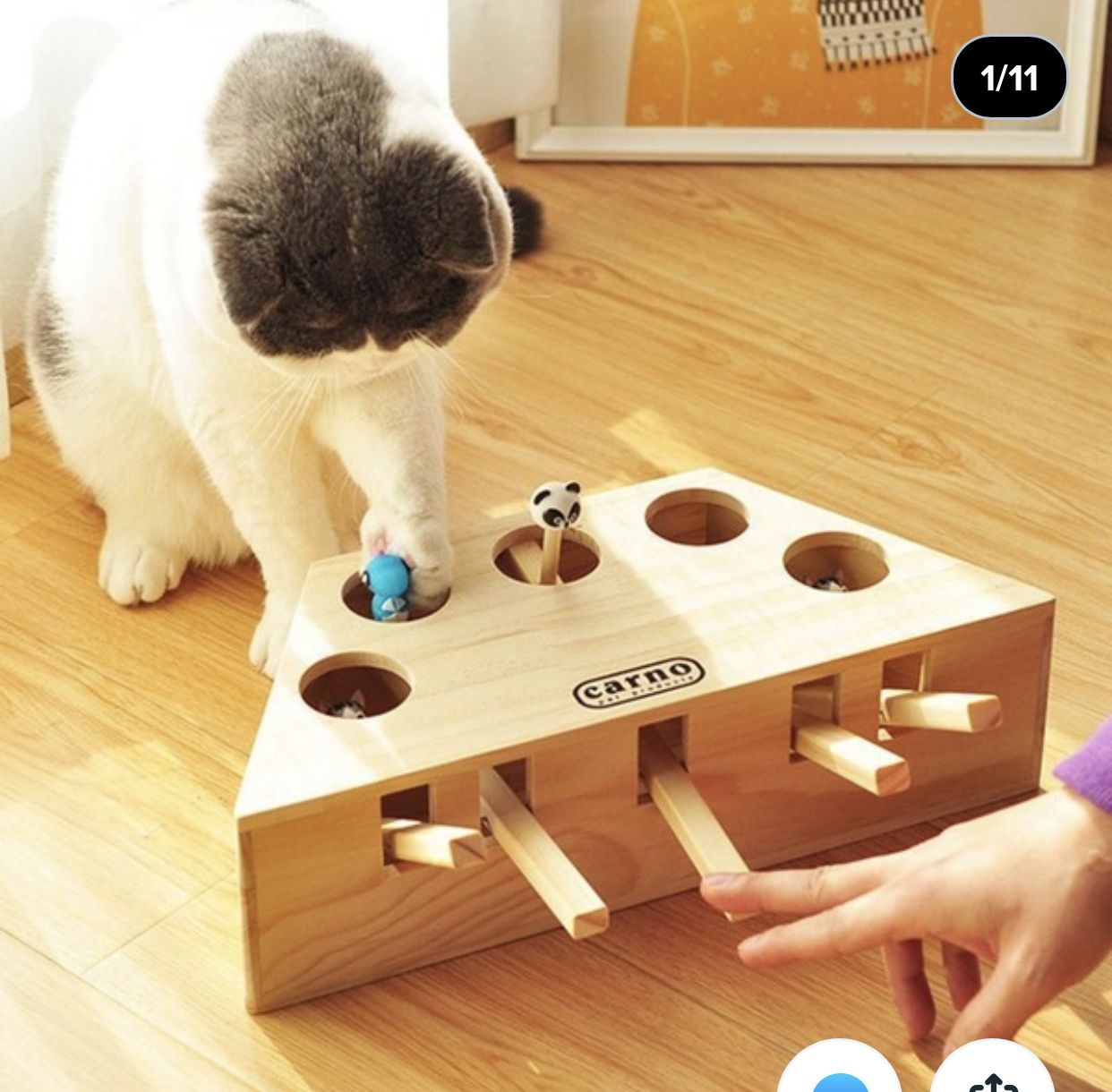 Interactive Cat Toys For Indoor Cats Whack A Mole Solid Wood Puzzle Box 3 Holes 5 Holes Wish In 2020 Interactive Cat Toys Best Interactive Cat Toys Wooden Cat
