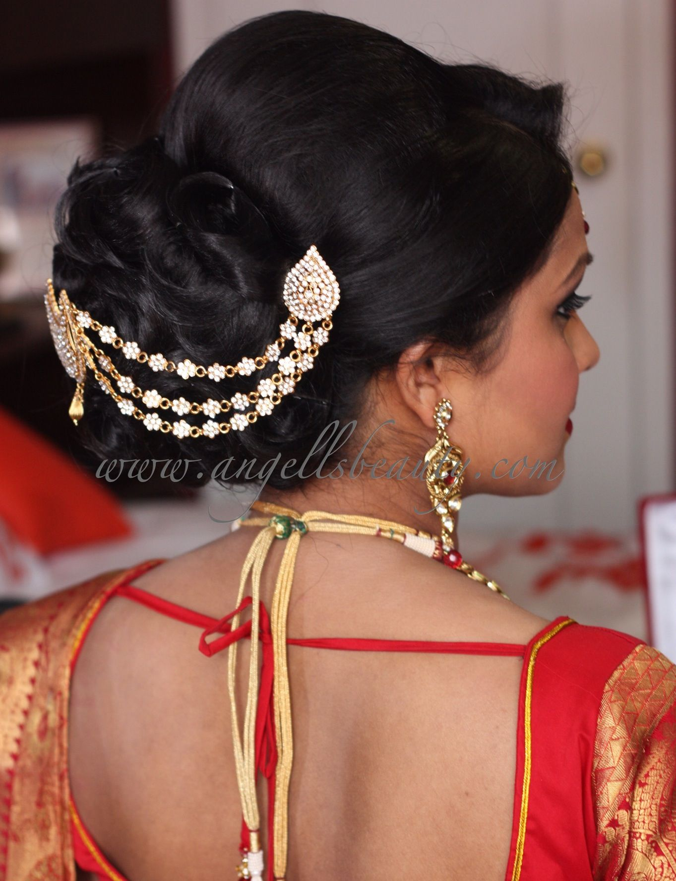 South Indian bride. Temple jewelry. Jhumkis.Red silk kanchipuram sari.Braid with fresh jasm ...