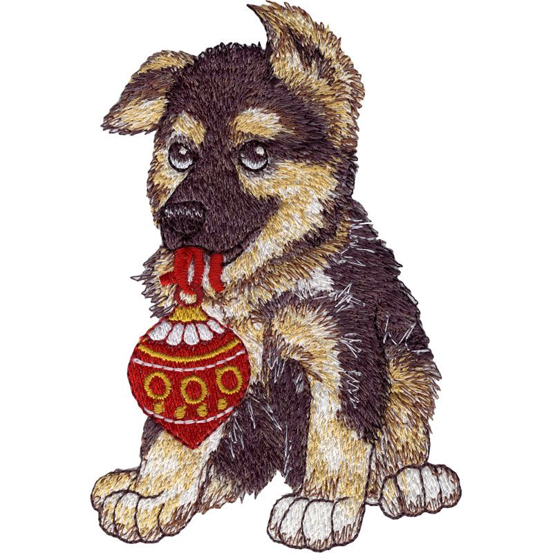 German Shepherd Christmas Puppies Hg412 Machine Embroidery Design