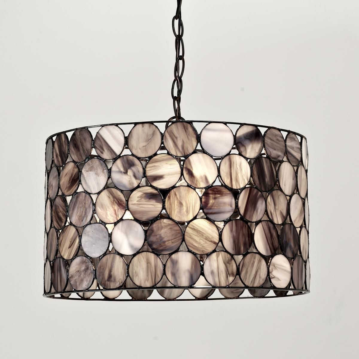 Shades Of Light Smoky Art Glass Circles Shade Pendant Black